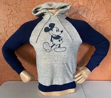 RARE Vintage Walt Disney Casuals Mickey Mouse Gray & Navy Hoodie Sweater Medium