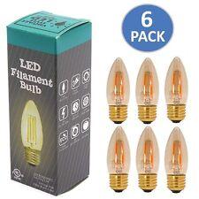 6x 3.5W LED Retro COB Edison Filament Candle Bulb Dimmable Warm Light AC120V E26