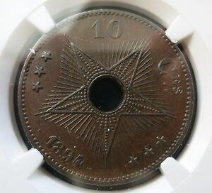 CONGO FREE STATE Belgium 10 centimes 1894 NGC AU 58