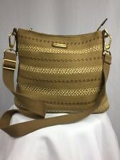 ERIC JAVITS Escape Pouch MSRP $425 ~ Squishee Fabric Natural W/Stripes EUC