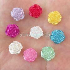 DIY 40pcs mix Resin pearl rose Flatback appliques child scrapbook craft/wedding