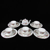 16-Pc Set MINTON Marlow Hand Painted Porcelain Teapot, Cups & Saucers and Plates
