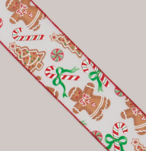 10yd Roll Gingerbread/Candy Cane Fabric Wire Edge Christmas Ribbon 2.5in Wide