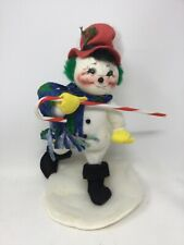 Vintage Signed Annalee Doll Dancing Snowman Candy Cane 1998 Christmas