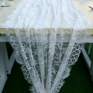 Boho Lace Table Runner White Tablecloth Rustic Wedding Party Banquet Table Decor