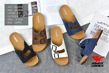 Sandali estivi uomo ciabatte mare scarpe con plantare comodo in sughero e fibbie