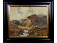 19th Century Oil On Canvas. Mountain Landscape. Original Painting. F Wells??