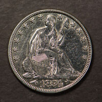 1854-O SEATED LIBERTY 50C Silver HALF DOLLAR - w/ ARROWS ** NICE AU DET Lot#C042