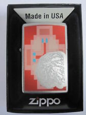 Vintage Retired Unstruck Zippo Lighter - Indian Chief Native American