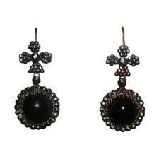 Victorian Cut Steel and Onyx Cabochon Drop Earrings