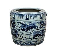 Chinese Vintage Finish Blue White Porcelain Foo Dogs Round Pot Planter cs3520