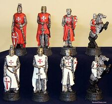 "KNIGHTS IN SHINING ARMOR CHESS MEN - INTENSE BATTLE SET - K=3¼"" (ww r75641)"