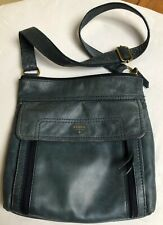 Fossil Slate Blue Nubuck Leather Large Messenger Bag With Thick Crossbody Strap