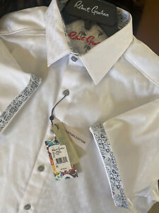 Robert Graham Mens Diamanté, White, XL,Style RS182000CF 100% Egyptian Cotton NWT
