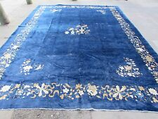 Antique Hand Made Rug Art Deco Chinese Nicolas Large Carpet Blue Wool 397x307cm