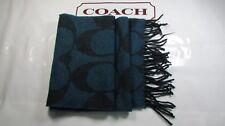 NWT Coach Wool Signature Twill Muffler Scarf F82860 Navy / Black