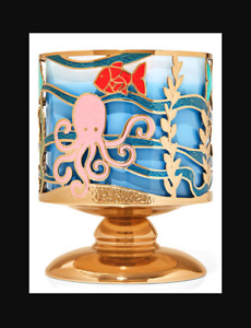Bath & Body Works Candle HOLDER Underwater Ocean Scene Fish Pedestal 3 Wick NEW