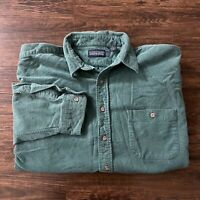 Vintage Lands End Thick Plaid Flannel Button Up Shirt Men XL Green Made in USA
