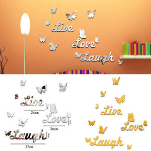 3D Removable Mirror Wall Stickers Butterfly Wall Decals Romantic Room Decor NEWA