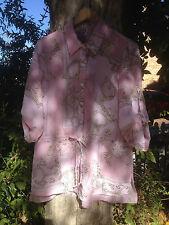 Brown Sugar Pink Print Design Top Size 14 3/4 Sleeves