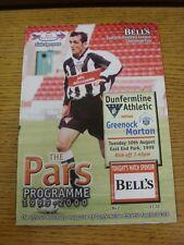 10/08/1999 DUNFERMLINE V Greenock Morton Coppa di lega []. questo oggetto è stato Inspe