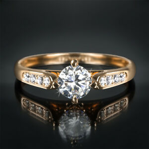 1 Carat Round Cut Womens Wedding Engagement Ring Rose Gold Plated Size 5-9