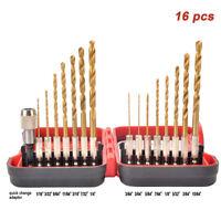 HSS Twist Drill Set Pilot point 16 pcs for DeWalt Makita & Ryobi Cut Steel Wood