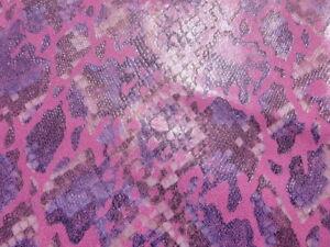 Pigskin leather hide XXL Hot Pink & Purple Python Snake Skin Print light weight