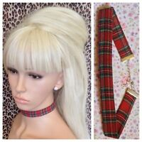 RED ROYAL STEWART TARTAN FABRIC CHOKER NECKLACE 2cm WIDE METAL CHAIN RETRO PUNK