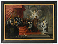 Italian Renaissance Baroque Old Master Saint King 1700 Huge Antique Oil Painting