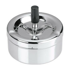 Ashtray With Lid Stainless Steel Rotary Round  Chrome 11cm Diameter Silver