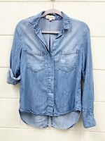 Cloth & Stone Women's Chambray Tencel Split Back Button Front Shirt Sz XS Blue