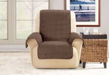 Sure fit Deep Pile Velvet Wing Chair/Recliner Cover Chocolate