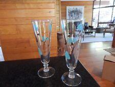Vtg Pair Mid Century Modern Atomic Design Pilsner Ale Glasses Turquoise & Gold