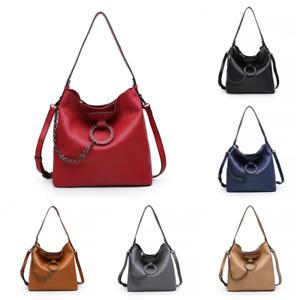 Ladies Studded Bucket Chain Slouch Shoulder Bag Tote Handbag Shopper