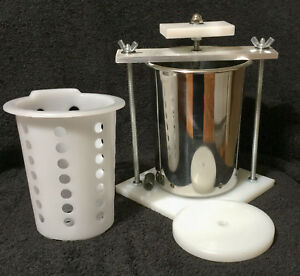 "CHEESE PRESS STAINLESS STEEL 4""  SPRING ASSISTED - ORGANIC W/ SOFT CHEESE MOLD"