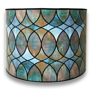 Decorative Handmade Lamp Shade - Made in USA - Cool Hues Watercolor Design