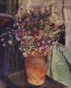 Rare 90+y Old Vintage MANSON Botanical Art MICHAELMAS DAISIES Flowers 12x8 Print