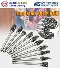 "10Pcs 1/8"" Shank Tungsten Carbide Burr Rotary Drill Bits Tools Cutter Files Set"