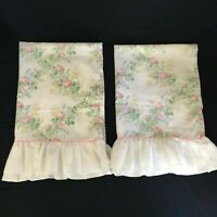 Vintage Ruffle LADY PEPPERELL Country Roses Floral (2) Standard Pillowcases