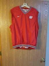 Vintage Reebok Wisconsin Badgers Lined Sleeveless Pullover Jacket Adult L EUC