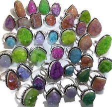 Wholesale Lot !! 20 PCs. TITANIUM DRUZY 925 Sterling Silver Plated Ring Jewelry