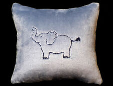 New Embroidered Soft Fuzzy Blue Baby Elephant Pillow 12 x 12 in insert