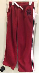 Boys Pull-on Fleece Pants Size 10 Large In Red With Drawstring Waist
