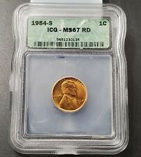 1954 S Lincoln Wheat Cent Penny Coin ICG MS67 RED RD Gem BU San Francisco 4