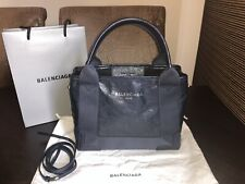 Original BALENCIAGA 390346 Cabas XS 2way Shoulder Leder CrossBody Tasche navy