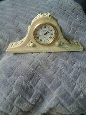 VINTAGE AYNSLEY PORTLANDWARE SMALL MARBLED MANTLE BEDSIDE CLOCK SHABBY CHIC