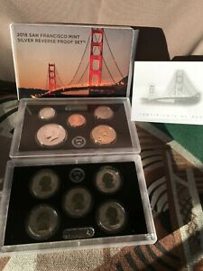 """2018 S SAN FRANCISCO MINT """"SILVER REVERSE PROOF"""" SET 10 COINS WITH / BOX & COA"""