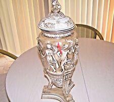 """R Capodimonte Porcelain Vase Lidded Urn Large 22"""" Italy Gold Gilt Original Owner"""