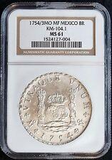 1754/3MO MF Mexico 8R Silver Pillar Dollar Coin (NGC MS 61 MS61) KM-104.1  01247
